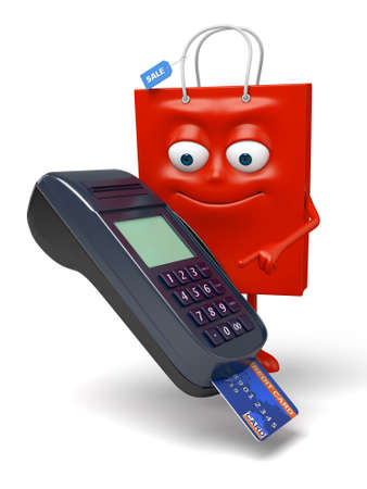 A red shopping bag with a POS Stock Photo