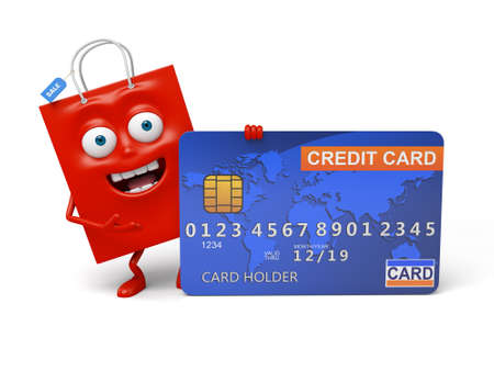 A red shopping bag with a credit card