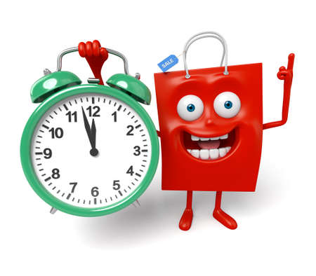 A red shopping bag with a clock Stock Photo