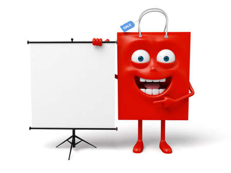 A red shopping bag with a projector Stock Photo