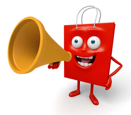 A red shopping bag with a loudspeaker