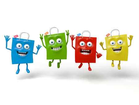 Four shopping bags's happy time Stock Photo - 48091197