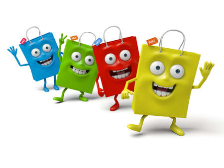Four shopping bags's happy time Stock Photo - 48091198