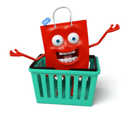 A red shopping bag with a storage box Stock Photo