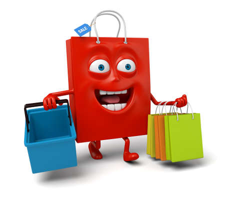 storage box: A red shopping bag with a storage box and some shopping bags Stock Photo