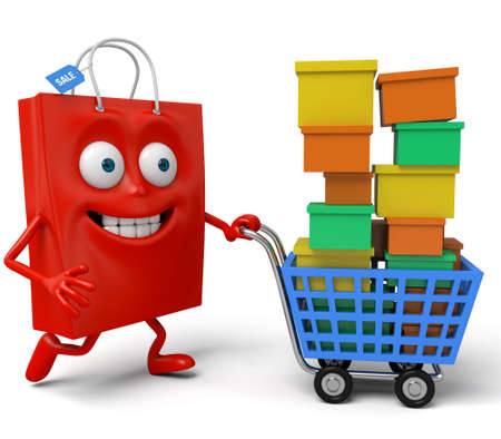 cart: A red shopping bag with a shopping cart