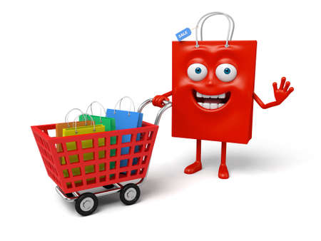 A red shopping bag with a shopping cart