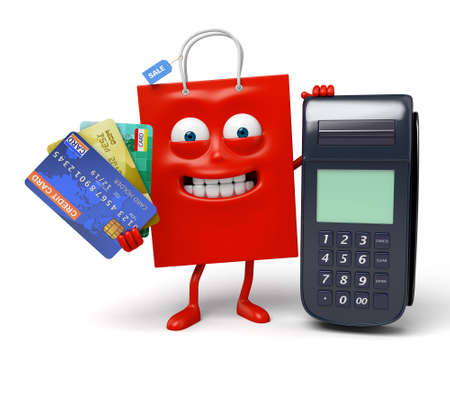 A red shopping bag with a POS and a few credit cards