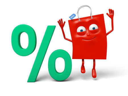percent sign: A red shopping bag and a percent sign
