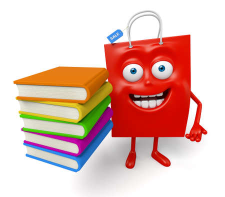 A red shopping bag with a few books Stock Photo