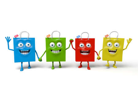 collective: Four shopping bagss happy time