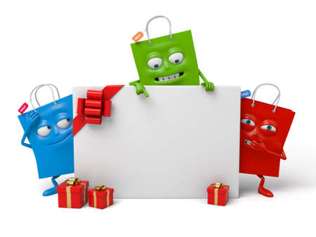 Three shopping bags and a big gift box Stock Photo - 48091232