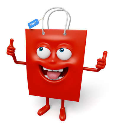 A red shopping bag in the character position Stock Photo