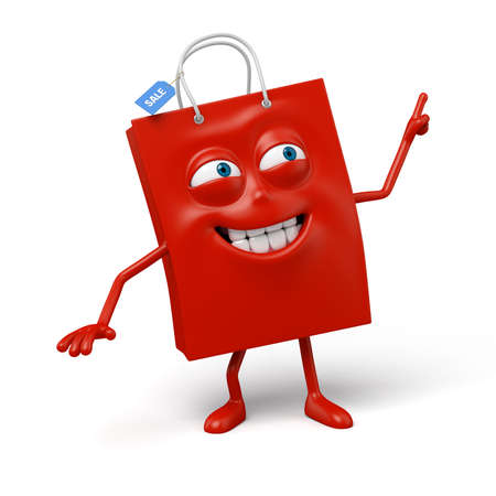 grimace: A red shopping bag in the character position Stock Photo