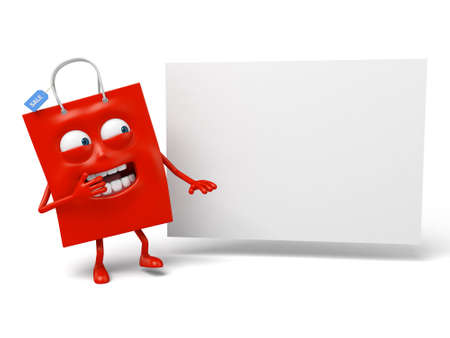placard: A red shopping bag with a white placard