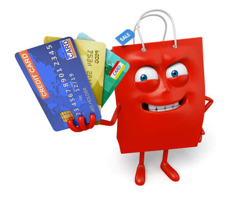A red shopping bag with a few credit cards Stock Photo