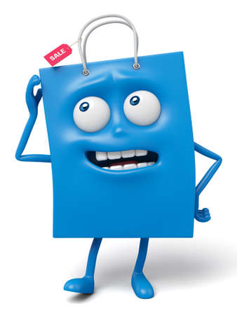puzzled: A blue shopping bag in the character position