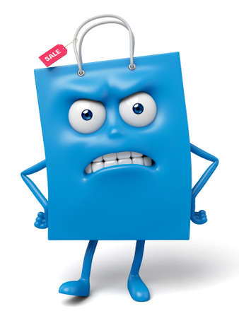 A blue shopping bag in the character position