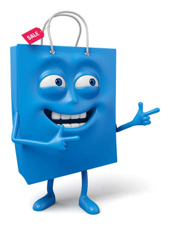 recommend: A blue shopping bag in the character position