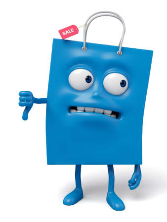 grimace: A blue shopping bag in the character position