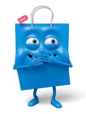 giggle: A blue shopping bag in the character position