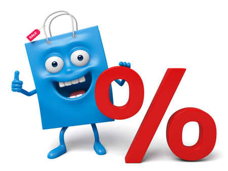 percent sign: A blue shopping bag and a percent sign