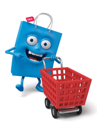A blue shopping bag with a shopping cart Stock Photo
