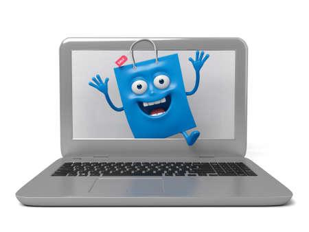 computadora caricatura: Una bolsa de compras azul con un cuaderno Editorial