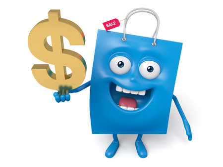 greenback: A blue shopping bag and a dollar sign Stock Photo