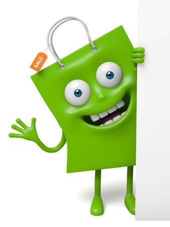 shopping bag: A green shopping bag in the character position Stock Photo