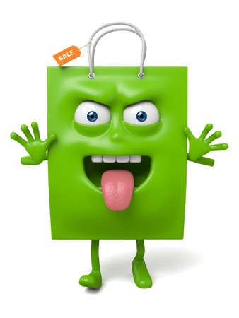 A green shopping bag in the character position Stok Fotoğraf