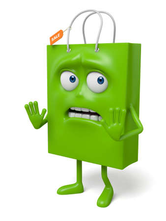 reject: A green shopping bag in the character position Stock Photo