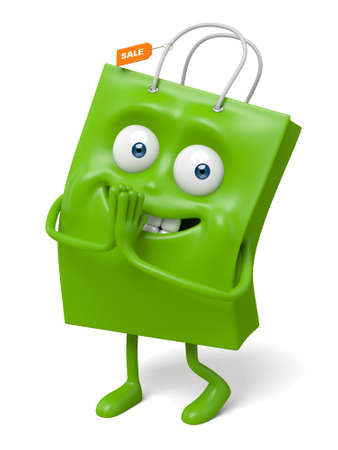 bashfulness: A green shopping bag in the character position Stock Photo