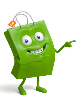 A green shopping bag in the character position Banco de Imagens