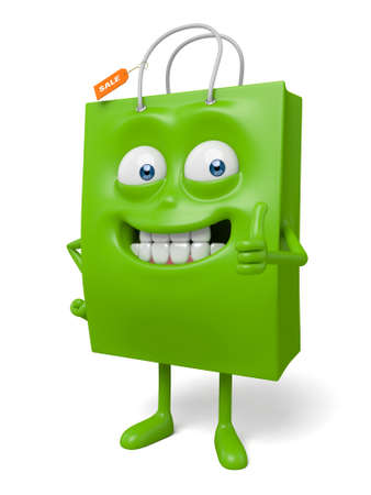 A green shopping bag in the character position Stock Photo