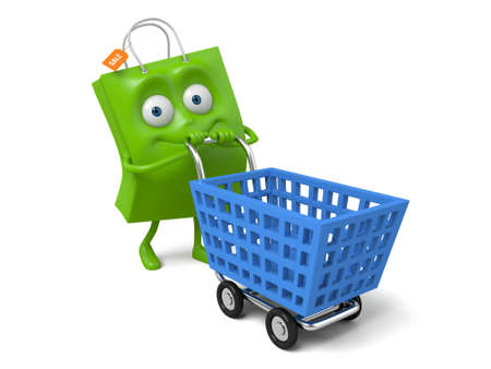 A green shopping bag with a shopping cart