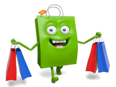 A green shopping bag and some shopping bags