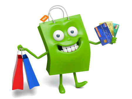 A green shopping bag with bags and a few credit cards