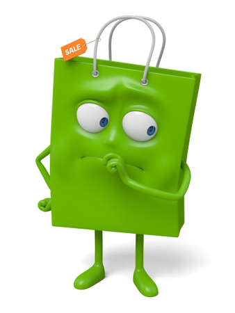 A green shopping bag in the character position Reklamní fotografie