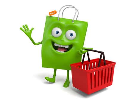 storage box: A green shopping bag with a storage box