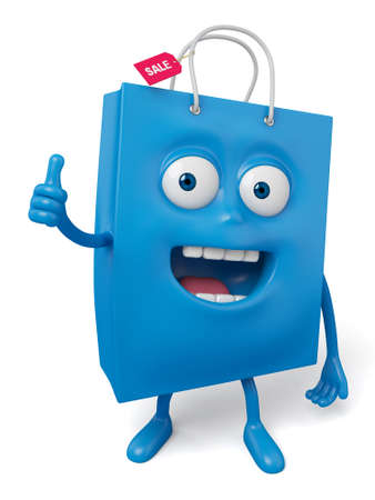 acclaim: A blue shopping bag in the character position