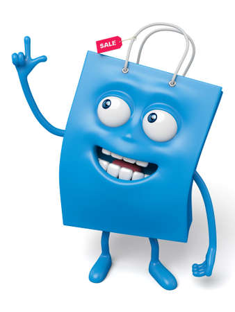 good looking: A blue shopping bag in the character position