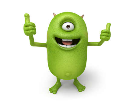 commend: The little monster smiled and thumbs up Stock Photo