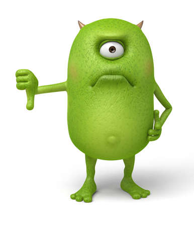 Little monster thumbs down at others Stock Photo