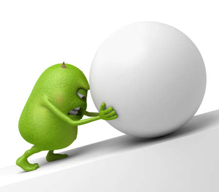The little monster is pushing a big ball