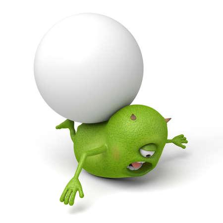 big ball: Little monster and a big ball