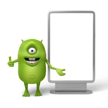 Weinig monster die zich op een scherm in de voorkant van een toespraak