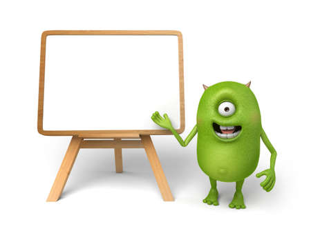 message board: Little monster in front of a message board to talk