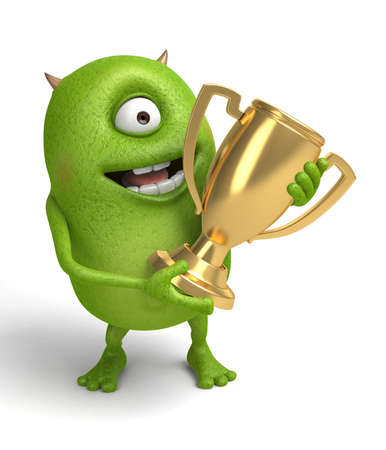 The little monster won the trophy