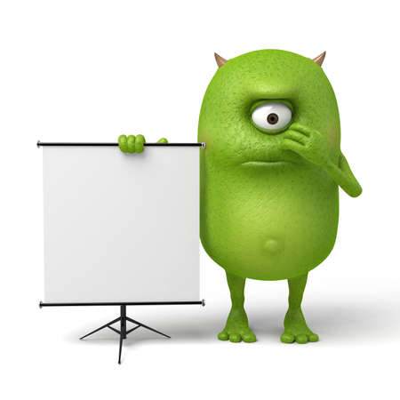 Weinig monster dat zich op het scherm voor een toespraak bevindt
